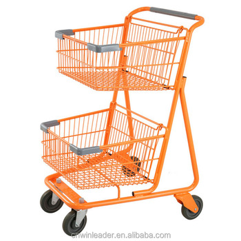 Two Tier Ping Trolley Cart With Double Basket