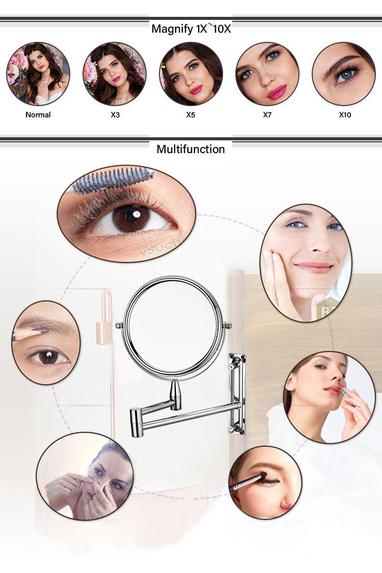 Schlafzimmer oder Bad Wand Montiert Make-Up Spiegel 1X & 10X Vergrößerungs Doppel Spiegel Zwei-Seitig Bad Spiegel ohne LED licht
