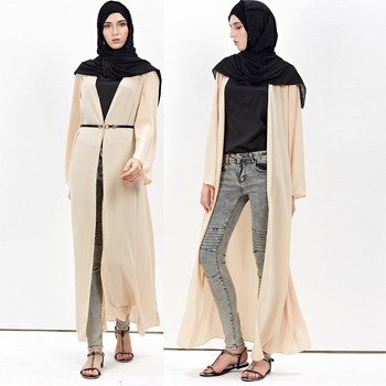 2019 fashion latest designs cardigan Islamic clothing front open kimono Arabic Dubai Muslim Abaya
