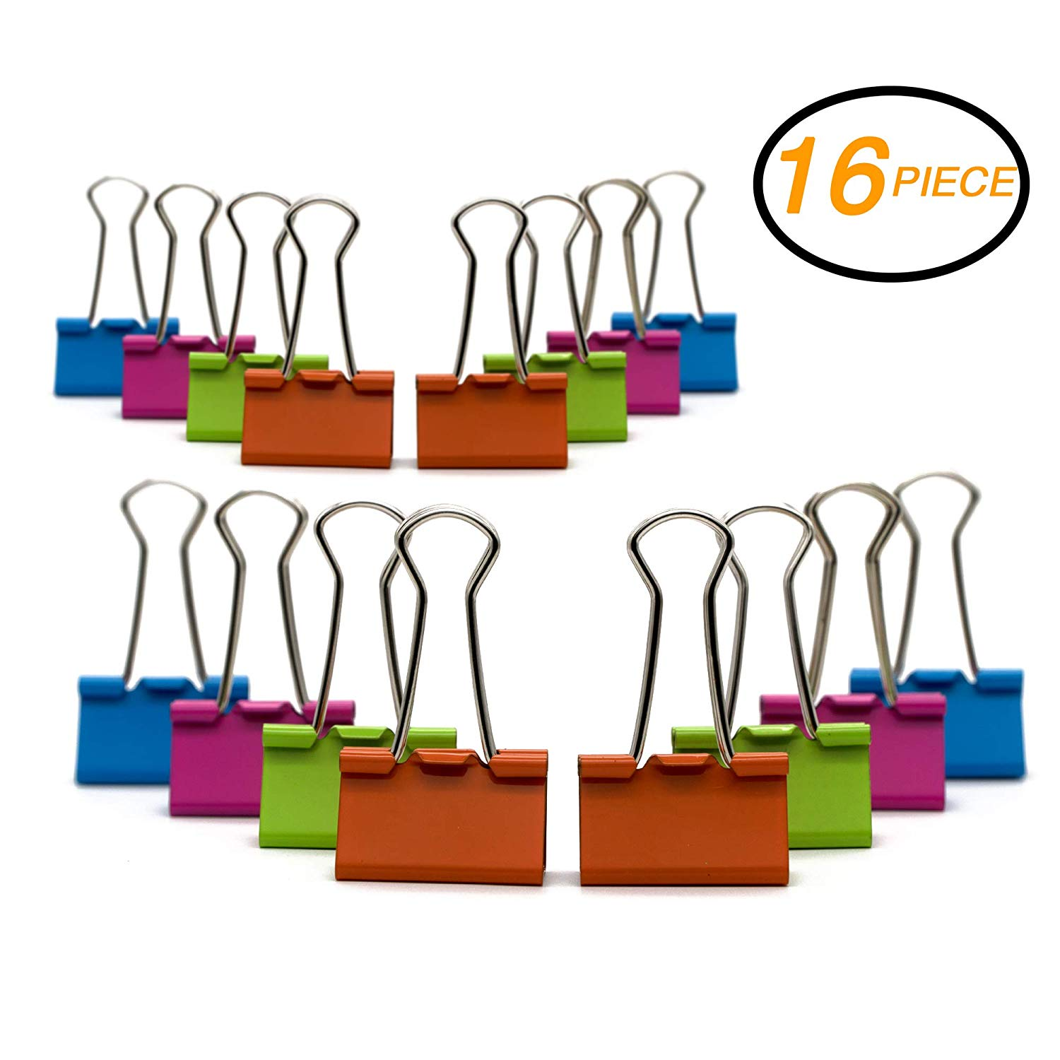 "Emraw Medium Versatile Binder Clip Assorted Color 1/4"" (32 mm) – for Office, School & Home (16-Pack)"