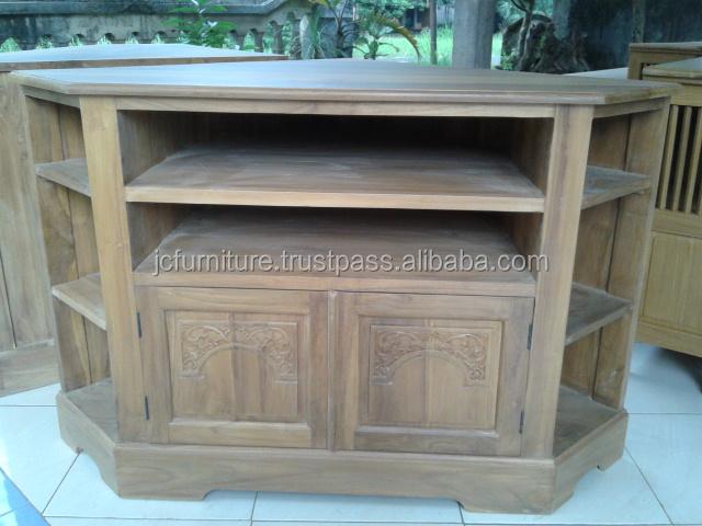 Meubles en bois teck coin tv stand conception meubles en for Meuble tv en coin