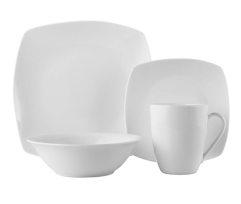 ROSCHER Dinnerware Dish Set (16-Piece) White, Ceramic Soft Square Dishes | Dinner and Salad Plates, Appetizer Bowls, Drink Mugs | Modern Kitchen Style | Dishwasher Safe