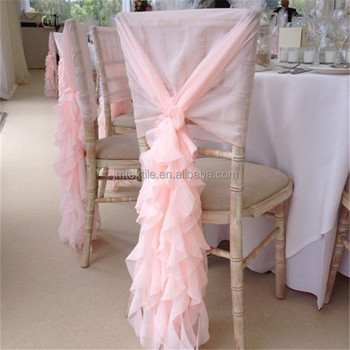Wedding Chair Decoration Chiffon Covers Curly Willow Sash