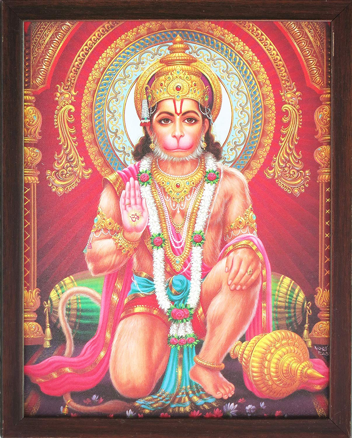 Hindu Lord Hanuman Giving Blessings, a Holy Hindu Religious Poster Painting with Frame for Worship Purpose