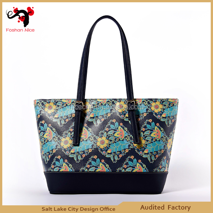 environmental friendly blue pu lady hangbag tote bag