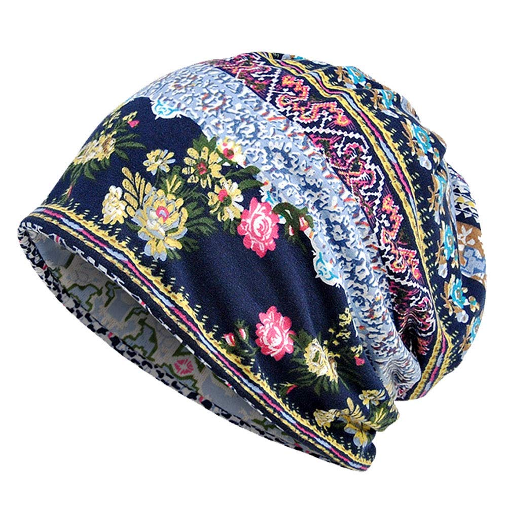 8d3ebee4c66 Get Quotations · Kangqifen Womens Ladies Thin Beanie Hat Cotton Blend  Flower Print Outdoor Warm Hat Scarf Dual Purpose