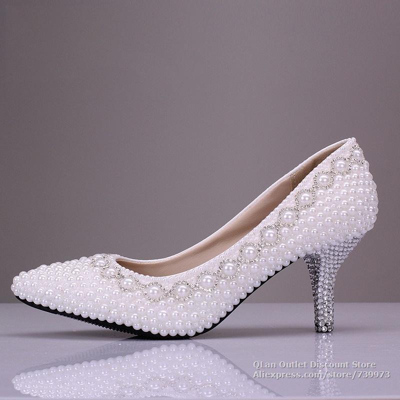 Comfortable Low Heel Wedding Shoes: White Wedding Shoes With Pearls Wedding Low Heels