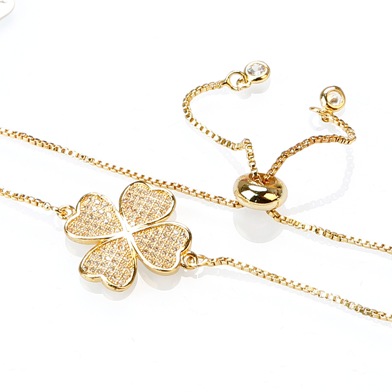 Exquisite Flower Zircon Crystal Rose Gold Chain Bracelet Copper Bracelets Birthday Gifts