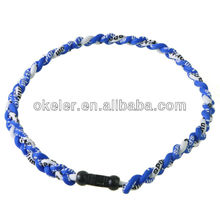 Low cost Blue and White titanium chaplet Health unisex collar massive in stocks