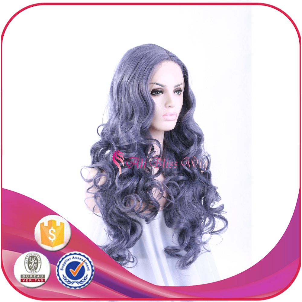 26 Inch Nobel Natural Loose Wavy Women Fashion Long Purple Synthetic Hair Lace Front Wig for African American