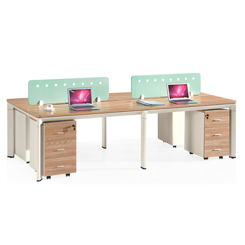 Modern wooden top iron base office computer desk metal