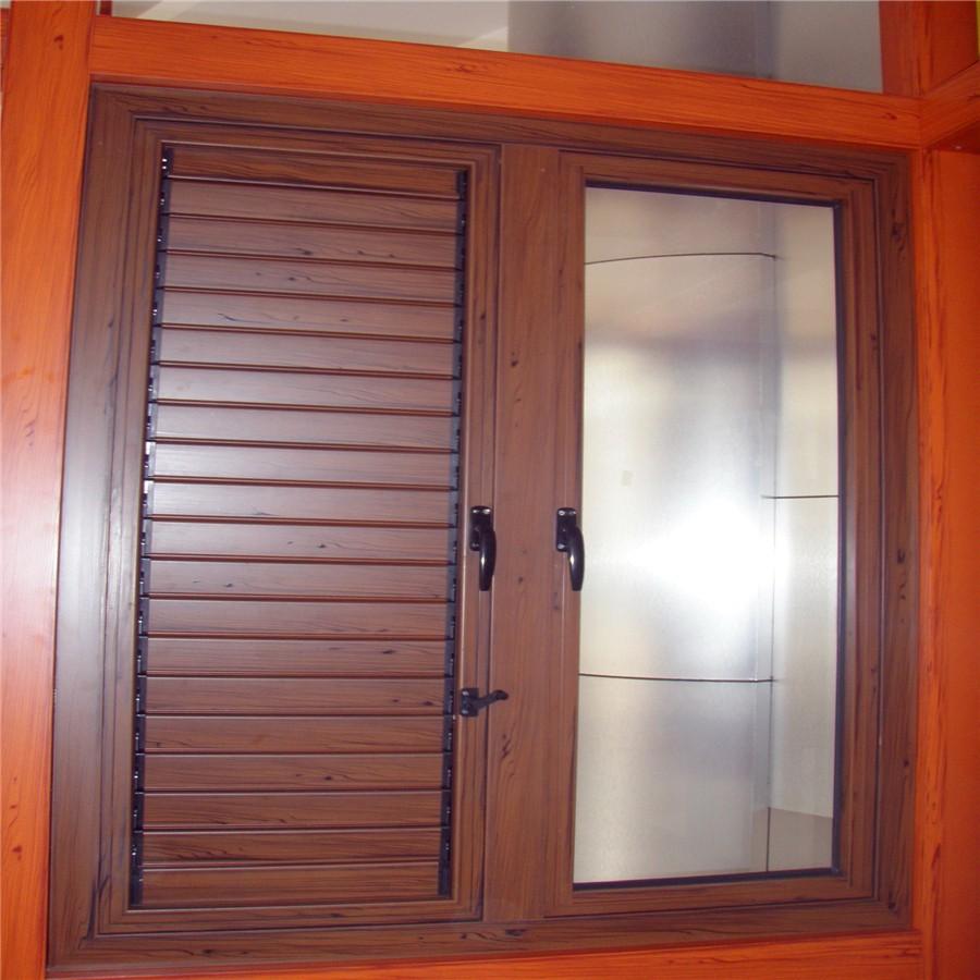 Moda moderna de aluminio ventana de persiana de madera de for Ventanas con persianas incorporadas