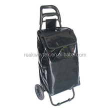 RW6014 China Shopping Bag Factory Supply Black PVC Vegetable Trolley Shopping Bag With 2 Wheels
