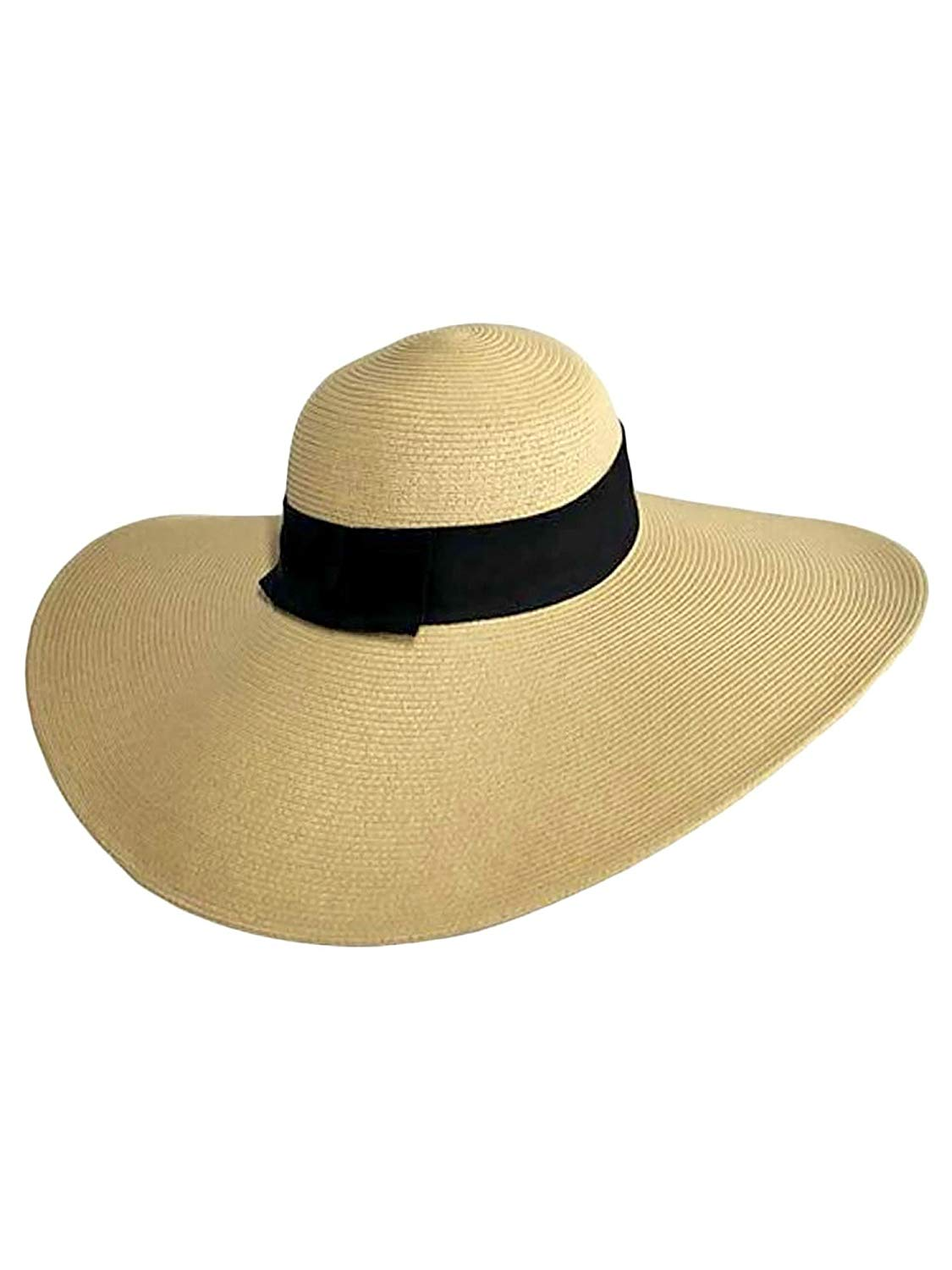 80d55bfe Get Quotations · Luxury Divas Tan Wide Brimmed Floppy Hat With Black Ribbon  Hat Band