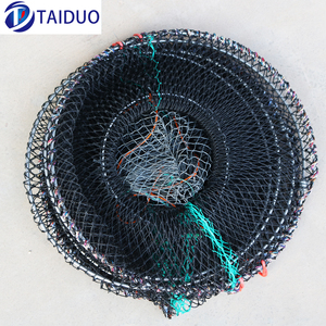 Black Nylon Folded Lobster Crab Shrimp Keep Cast Fishing Net Cage