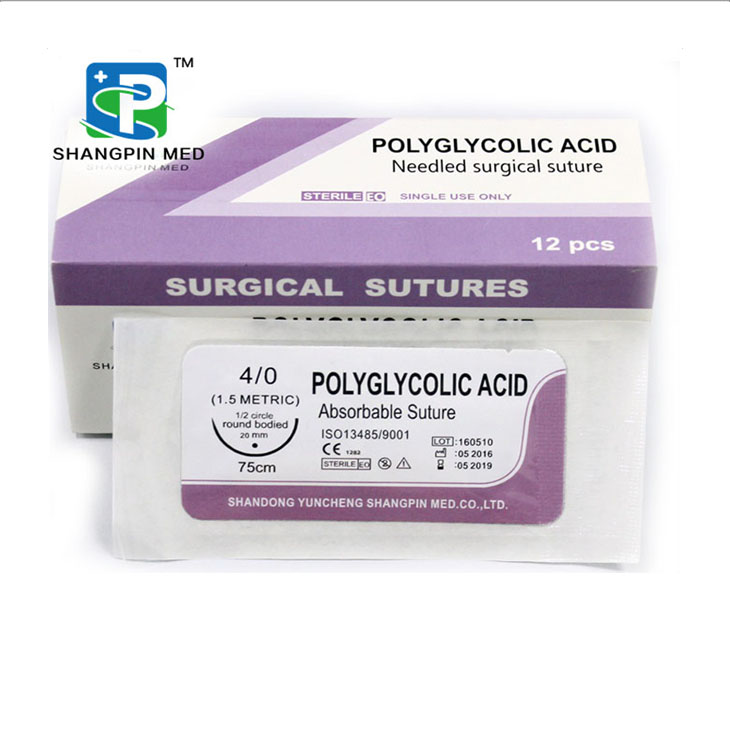 High Quality Absorbable Sterilized Polyglycolic Acid Surgical Suture Thread