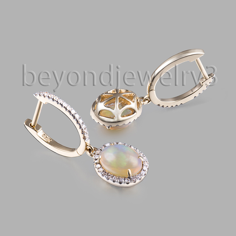 Simple Gold Earring Designs For Women , 14k Yellow Gold Opal ...
