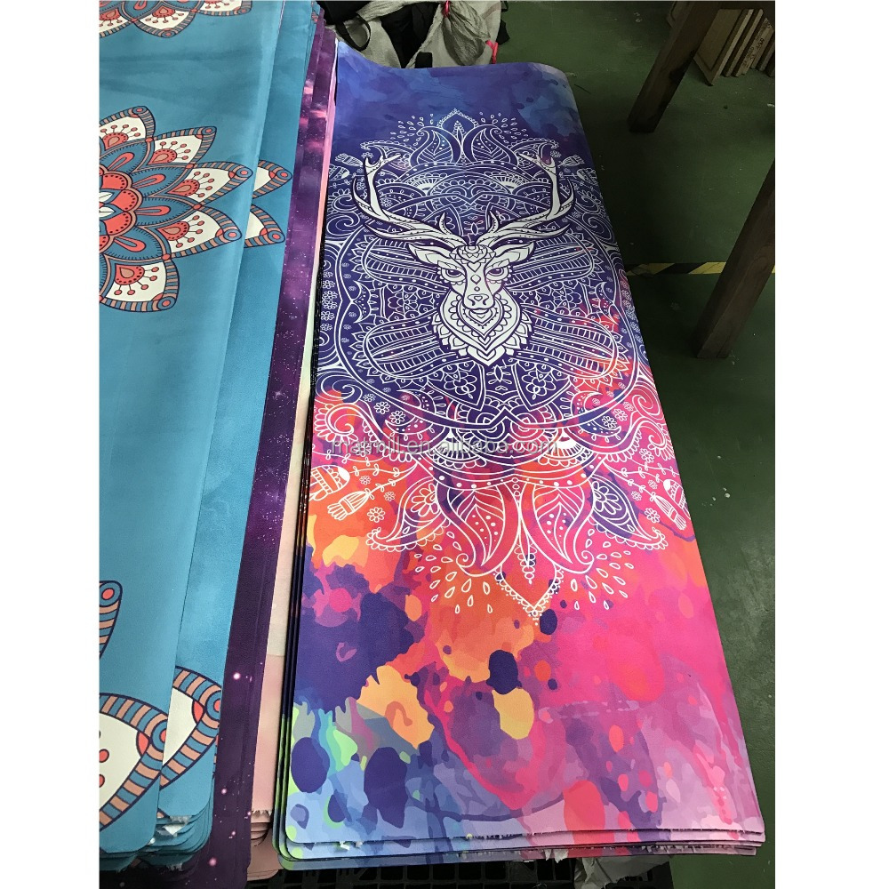 Eco Friendly Manufacturer Printed Natural Rubber Suede Yoga Mats