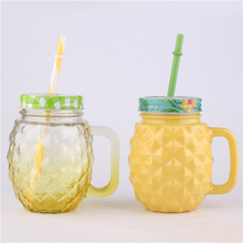 Hohe qualität großhandel ananas form tasse <span class=keywords><strong>mit</strong></span> stroh griff einmachglas <span class=keywords><strong>glas</strong></span>