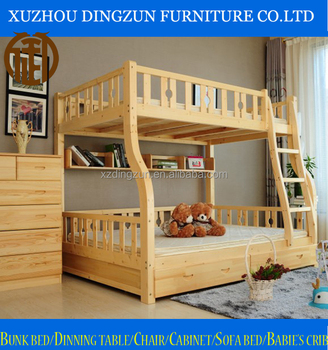 hot sale solid wood double deck bunk bed for mother and child use