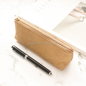 Nordic simple style custom plain washable untearable paper pencil zipper bag without any logo printing