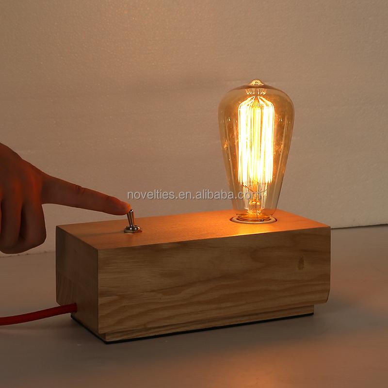 High Qualtiy E27 Wood Edison Table Lamp