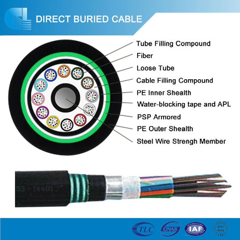 Glass Fiber Optic Systems 144 Core Underground Fiber Optic