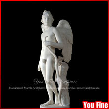Hand Carved White Marble Cupid Statue