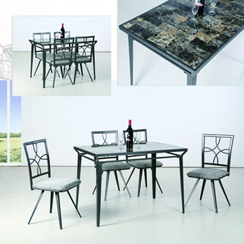 Customized fashionable modern grey dinning room furniture set glass top metal base square formal dining table set for 4 persons