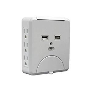 QVS PS-06UH Wallmount Power Block with Dual-USB Ports - 6 x AC Power, 2 x USB - 1.88 kVA - 1200 J - 125 V AC Input - 125 V DC, 5 V DC Output (QVSPS-06UH )