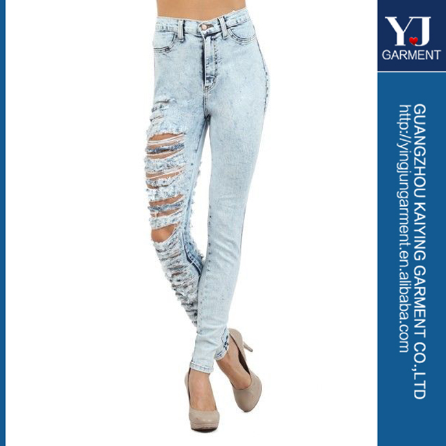 Light Blue One Leg Ripped High Waist Acid Wash Distressed Skinny ...
