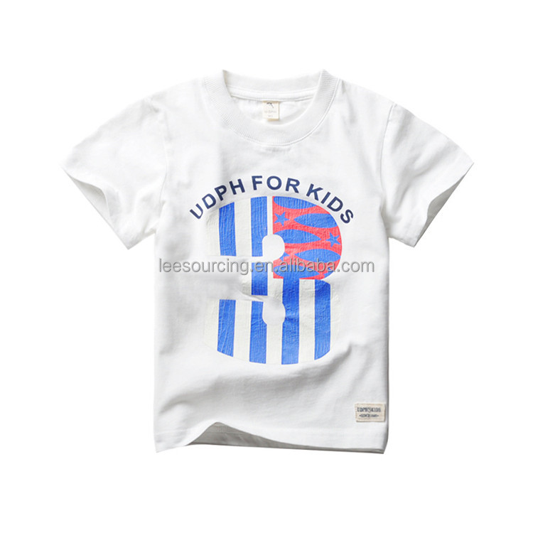 High Quality short sleeve boys tee custom printing white t shirt for kids
