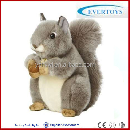 Grey Squirrel plush baby toys with nut