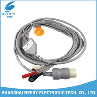 CE approved HP M1735A round 8pins one-piece 3 lead AHA/IEC ECG cable with snap leadwires