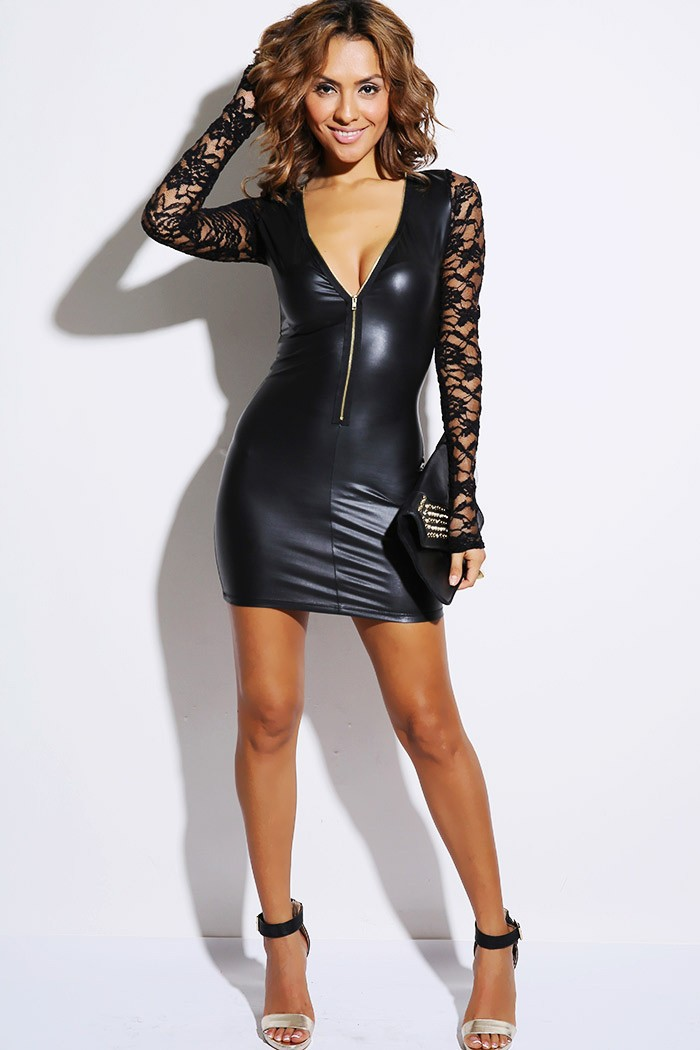 6e4dc64f62 Get Quotations · New 2015 Autumn European Club Clothes Women Sexy lace deep  V Chest A Patent Leather Zipper