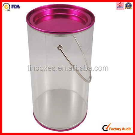 tin lid handle package plastic clear round pvc sugar tin box