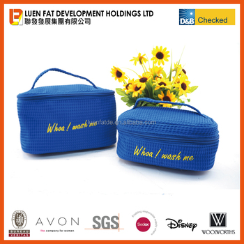 China Promotional make up bag cosmetic bag toiletry bag waffle material