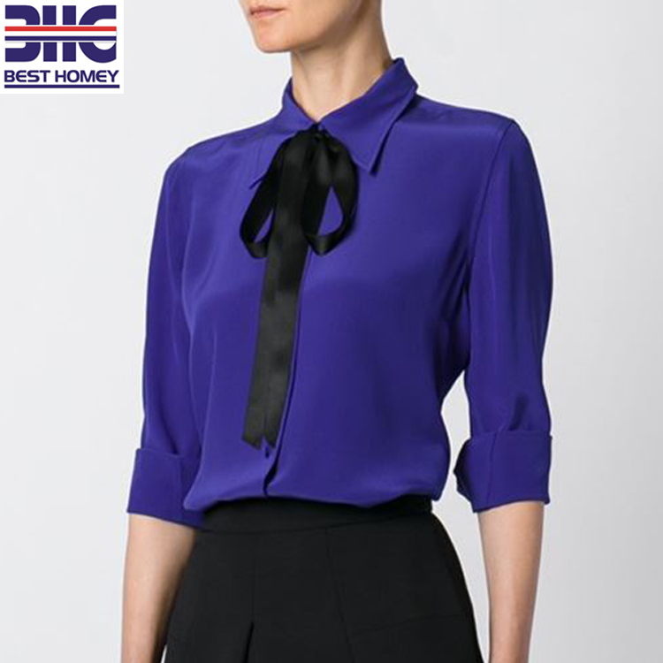 30ddf96e8bc7d Long Sleeve Tops Silk Crepe De Chine Ladies Shirts Pussy Bow Tie Blouses  For Womens - Buy Women Shirt
