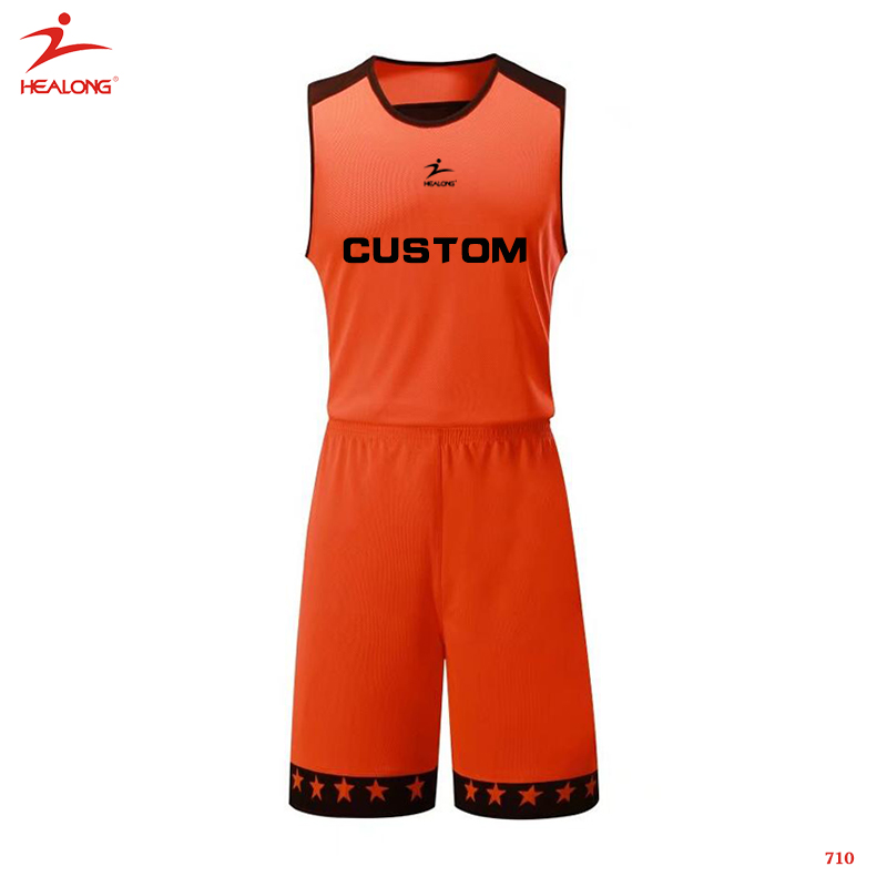 Simple Design Black And Orange Basketball Jersey Blank Basketball