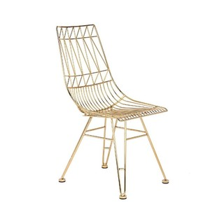 outdoor steel loft style refectory rose gold chair cafeteria iron Wire metal chair