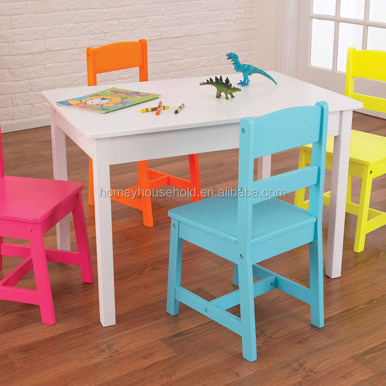 Popular Kids Wood Highlighter Table and 4 Chair Set - Multicolour