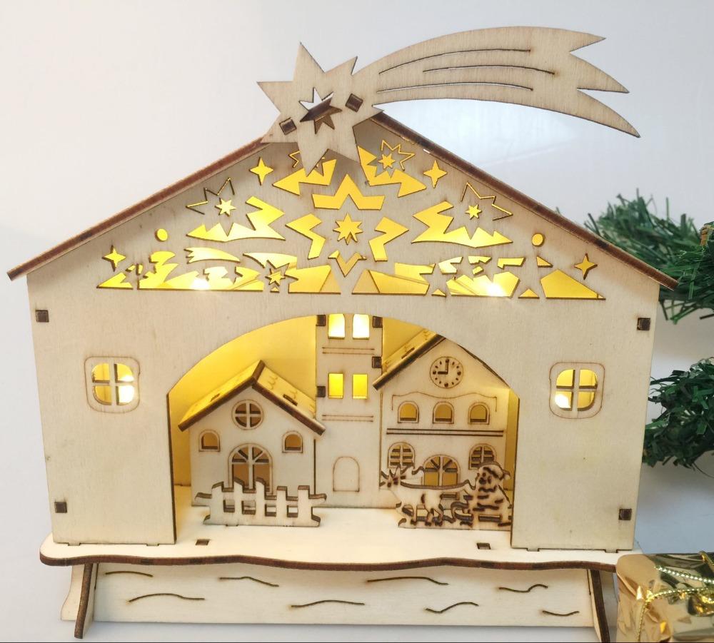 Warm White Led Lights Wooden Christmas Nativity Scene Xmas Decoration Church House