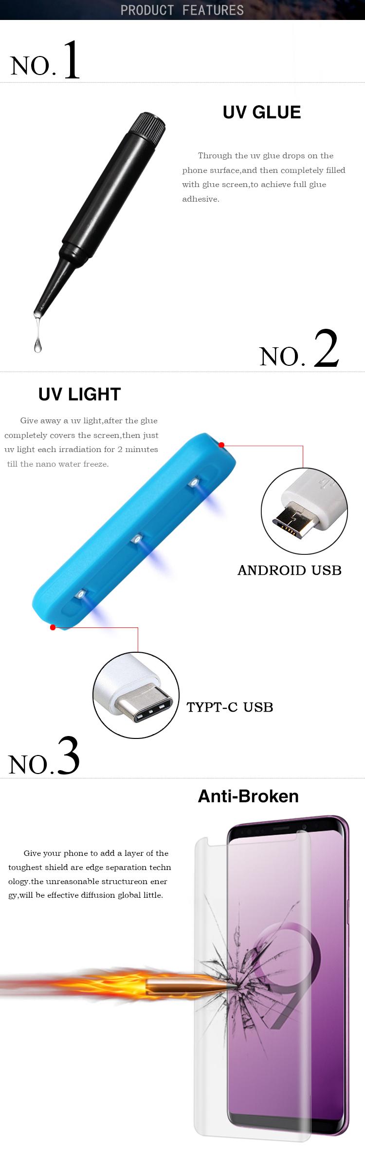 3D Curved Tempered Glass Nano Liquid Full Glue UV Glue Screen Protector For  Samsung Galaxy S9 S9 Plus, View UV Glue Screen Protector, Chimaco Product