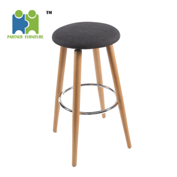Hagibis Round Seat Fabric Cover Bar Stool Chair With Four Wooden Legs View Fabric Seat Bar Stool With Wooden Legs Oem Product Details From Anji