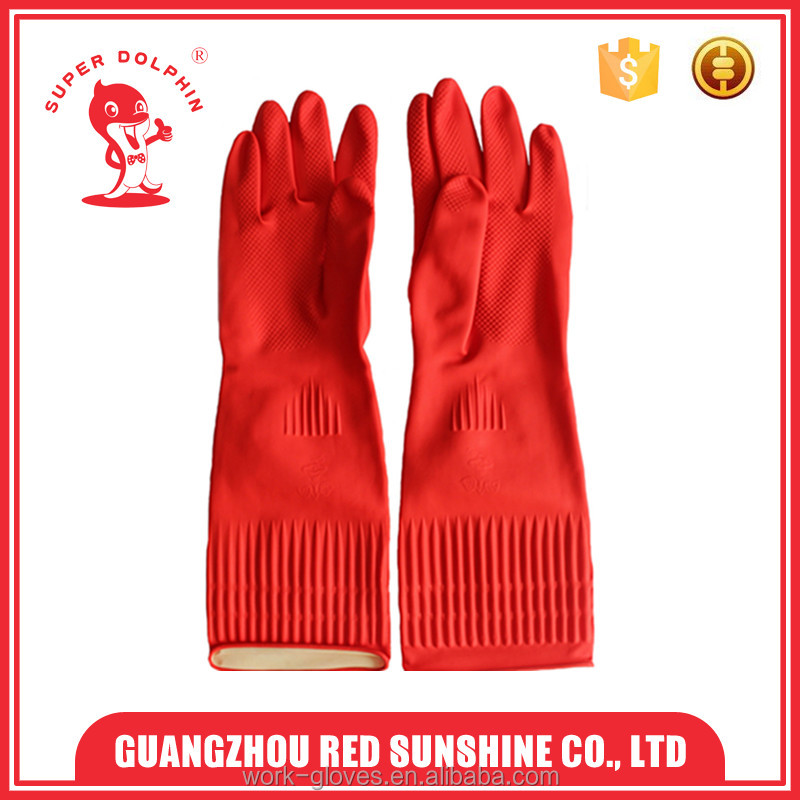 Long cuff latex household cleaning gloves