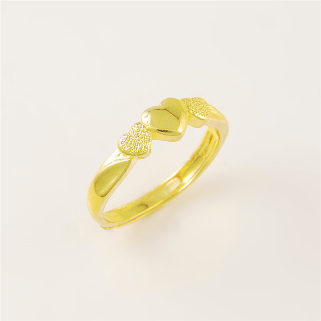 Real 24k Gold Plated Fine Jewelry Ring Fashion Yellow Adjule