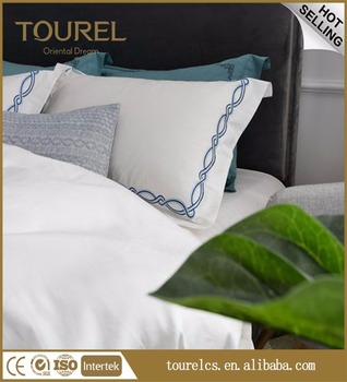 Hotel Bedding Living Sheets 100 Cotton Polyester Plain White Bed