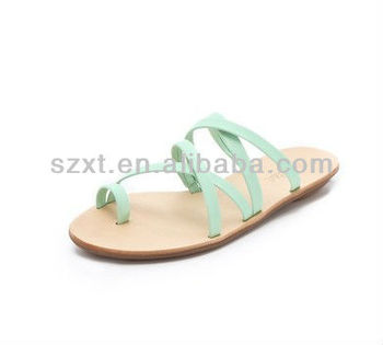 Unique Women Flat Sandals Green Straps Shoe Shoes Stylish Sandals ...