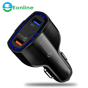 EONLINE USB Type-C Car Charger Power Delivery Dual USB Charging Phone Adapter Quick Charge 3.0 For iPhone X 8 Plus Samsung car c