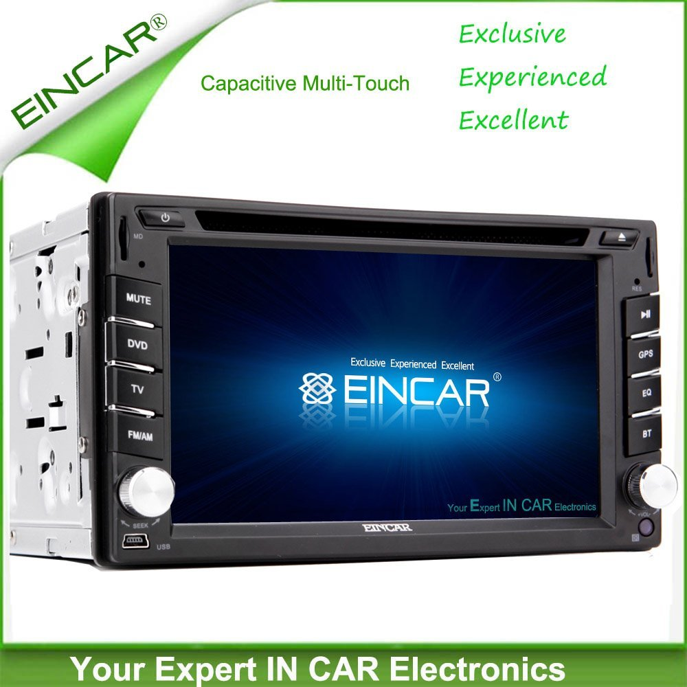 EinCar Capacitive TouchScreen GPS Car DVD Player MP4 Audio Car Radio Stereo System Multimedia CD Vehicle Accessory Video Receiver Autoradio FM AM Universal 2 Din logo iPod win 8 Remote control Aux